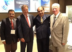 New Therapedic India licensees Milind Pandit, left, and Syed Emtiaz Ahmed, second from right, meet with Therapedic executives Gerry Borreggine and Norman Rosenblatt.}