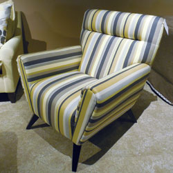 Style Line's 591 chair in Estrella Gunmetal fabric was a favorite with buyers.