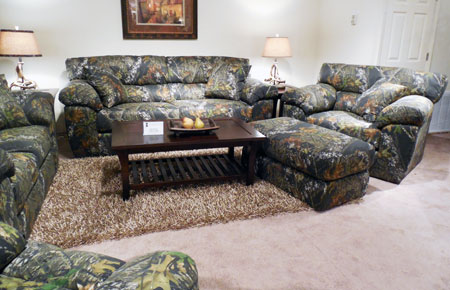 "Camouflage fabric, as shown on this Jackson Catnapper Big Game group, was featured prominently in many Tupelo showrooms, a nod to ""Duck Dynasty,"" a popular reality television show."