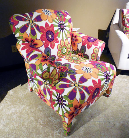 The 301 chair in Gabriella Garnet by Style Line packs a powerful color punch.