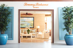 Lexington Home Brands built two Tommy Bahama retail shops in its High Point Market showroom, one featuring a traditional lifestyle, top, and the other an island lifestyle.
