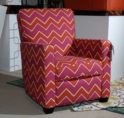 La-Z-Boy combined two strong 2013 colors — fuchsia and orange — in chevron fabric for the Midtown chair.