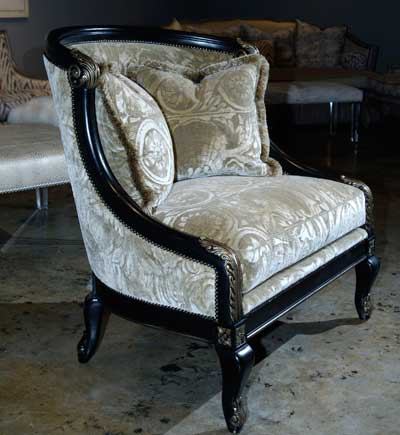 Neutral goes dramatic in this accent chair introduction by Massoud shown in a jacquard velvet by Algemene.