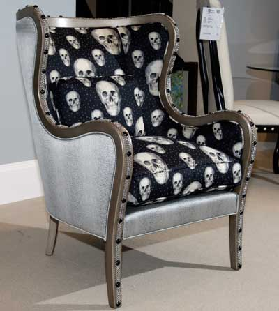 A traditional frame goes glam and a little bit Goth in Parker Southern's updated wing chair.