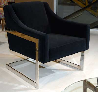 Younger Furniture replaces wood with metal and pairs it with velvet in this Avenue 62 accent chair.