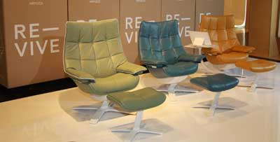 Natuzzi launched Re-vive, a performance motion recliner available in 10 color options, at the High Point Market.