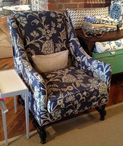 Classic blue and white fabric adds a casual flavor to Thibaut's Salem wing chair.