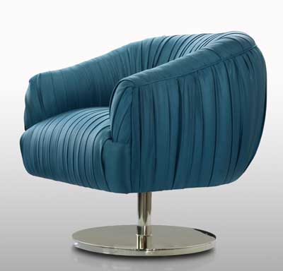 Classic blue and a contemporary profile pair for design versatility in Nathan Anthony's Blossom chair.