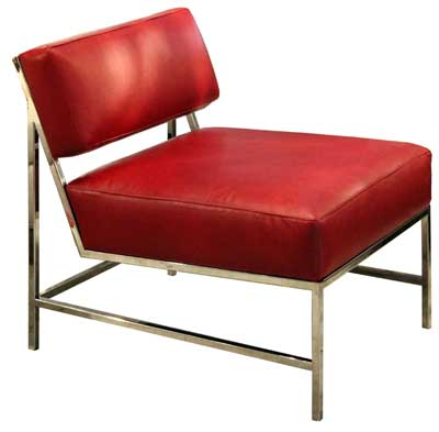 Red leather and a metal frame create a contemporary accent in Platinum Décor's Quinn chair.