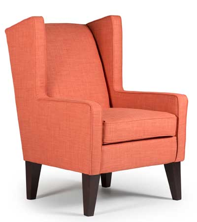 Best Home Furnishings updates the wing chair with tangerine fabric for this High Point Market introduction.