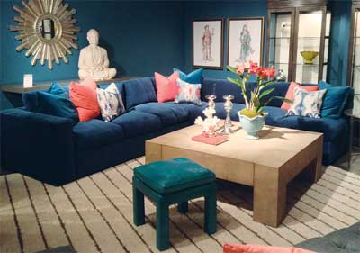 "Defined by Lillian August as ""international luxe style,"" this sectional showcases the drama of teal on teal. Rich velvet adds a luxe touch to the upscale aesthetic."