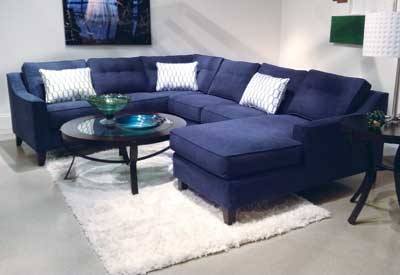 Like a favorite pair of blue jeans, this new sectional from Klaussner offers comfort and classic color. Navy blue is important in apparel this season, and this sectional represents a great marriage of the fashion and furnishings trends.