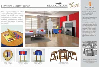 A product board shows Meghan Wilson's Diverso Game Table design, which won the Groovystuff by Design: Connecting Education with Industry Challenge during the October High Point Market.