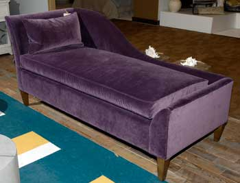 Interhall is home to some cutting-edge spaces during market, and this purple velvet chaise stopped a large number of passersby. Opulent in fabric and streamlined in form, the chaise illustrated the pop power of occasional upholstery pieces.