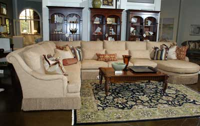 "Described by company officials as the ""biggest sectional ever,"" this model from received a strong positive response from dealers at market. www.southwoodfurn.com"