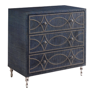 HGTV Home Hombre Blue Raffia Chest