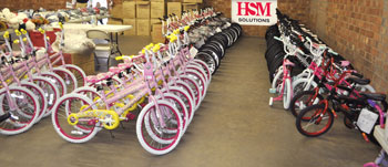 HSM helped the Hickory Fire Department purchase, assemble and distribute 647 bicycles to children in need.