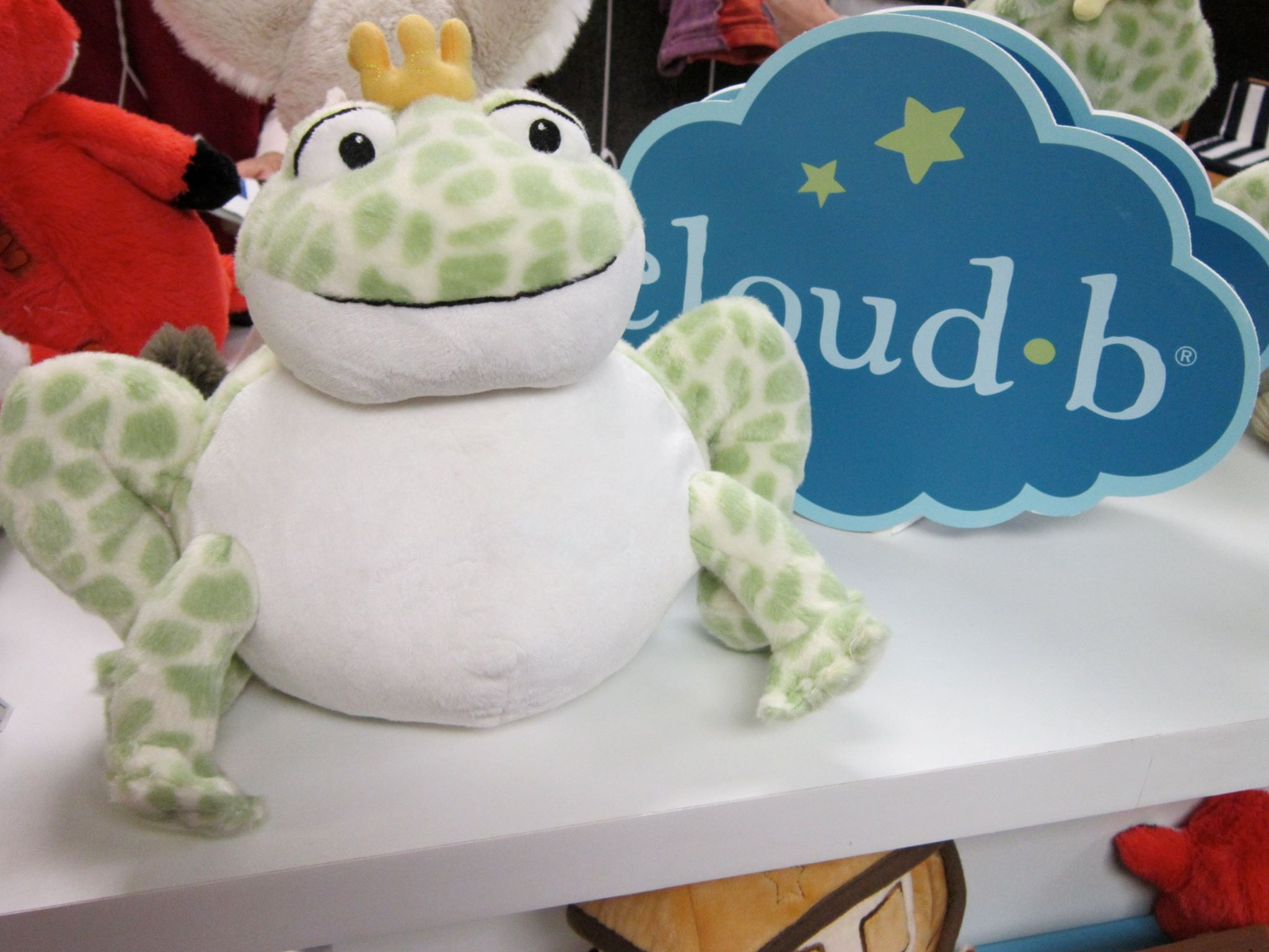 Cloud b frog prince uses soft light and sound to soothe babies.