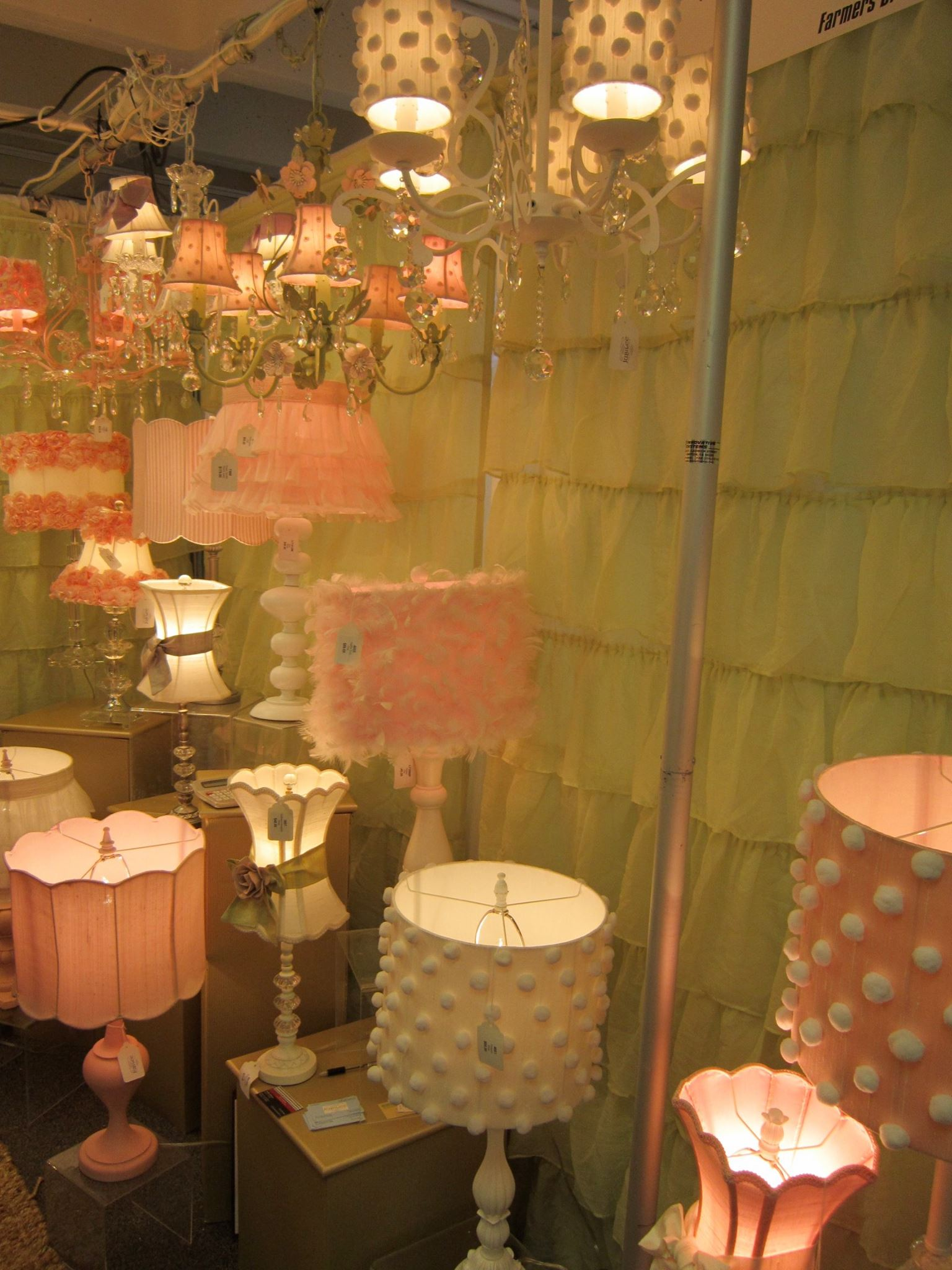 Frilly, feminine lamps at the Jubilee Collection booth