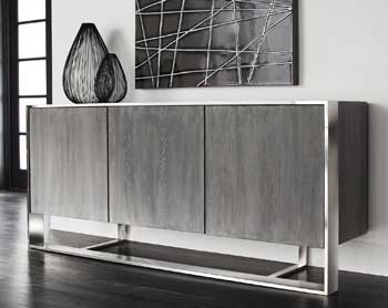 The Dalton sideboard is part of Sunpan Modern Home's new Club collection. It is made with solid German oak and has a gray finish and stainless steel frame.