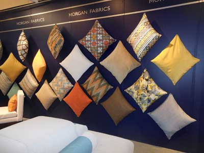 Morgan Fabrics' Showtime introductions were shown as accent pillows.