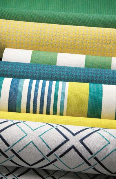 Sunbrella's Ivy League collection features bright solids and patterns.