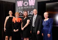 WOW Award winners honored by WithIt at market Karrie Forbes, left, Mattress Firm, Leadership Award; Susan Gravely, Vietri, Legacy Award; Leah Kirkland, MicroD, Future Leader Award; Russell Bienenstock, Furniture World, Education Award; and Mary Knackstedt, Knackstedt Inc., Mentoring Award.