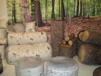 The Birch and Forest collections of seating, ottomans and pillows by Germany-based Mero Wings feature photorealistic designs that blend with outdoor environments.