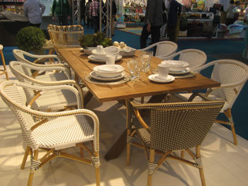 The Sika Design booth featured a wide array of the Danish company's indoor and outdoor furniture, such as this classic woven dining group.