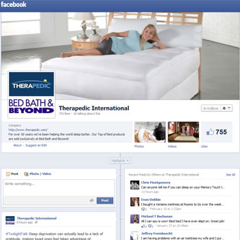 Therapedic's new media strategy includes a stepped-up presence with added content on Facebook, via the page shown here, and Twitter.