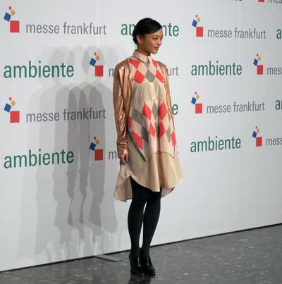 "Rila Fukushima, a Japanese model and actress who starred in ""Wolverine"" with Hugh Jackman, toured Ambiente with journalists and attended the Japanese gala."