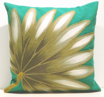 Liora Manne Teal Palm Fan Pillow