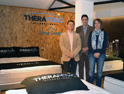 Celebrating Therapedic's new partnership in Colombia are Camilo Barrera, left, general manager, Grupo Industrial UMO; John Giraldo, sales manager, Grupo Industrial UMO; and Silvia Laforie of Therapedic Colombia.