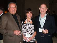 David, left, and Connie Beckmann, Emerald Home Furnishings; and Gary Evans, Furniture/Today.