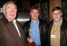 Alfred Niederman, left, Metamorphous Furniture; and Joe Bailey and Hugh Hargett, Hancock Fabrics.