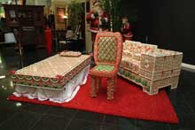 The life-sized gingerbread furniture on display during the holiday season at Gallery Furniture in Houston.