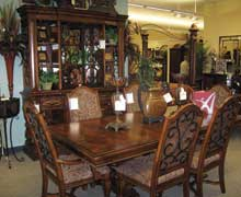 A.R.T. Furniture's Mediterranean–influenced Marbella dining room collection (table and china group on sale for $4,299) receives prominent display space on the upper floor of the new store.